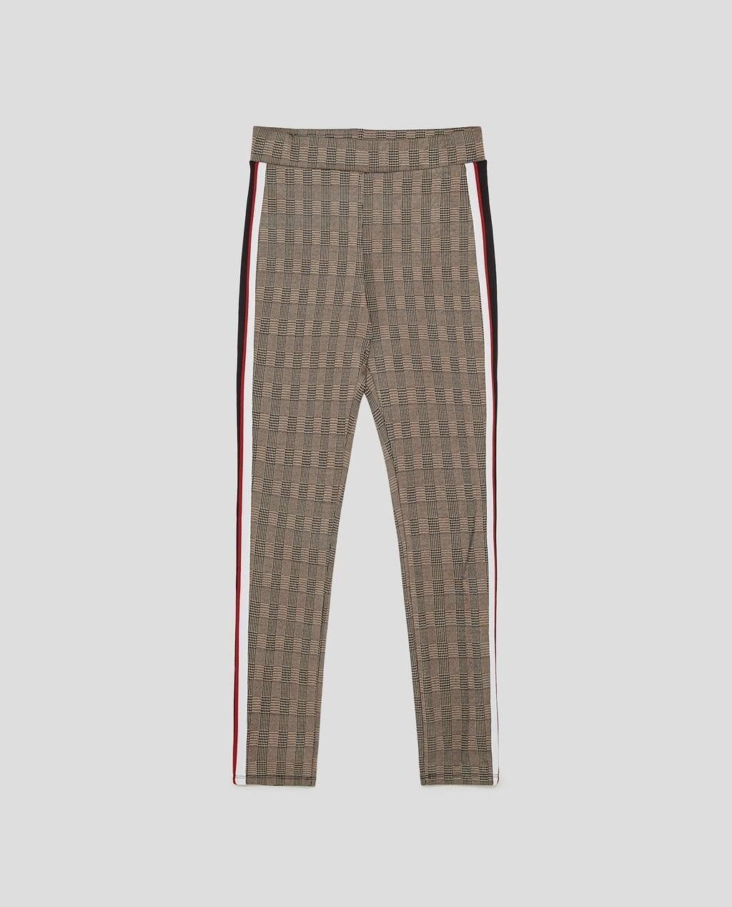 Zara Checked Leggings With Side Stripes Di 2020 Model Pakaian Celana Pakaian