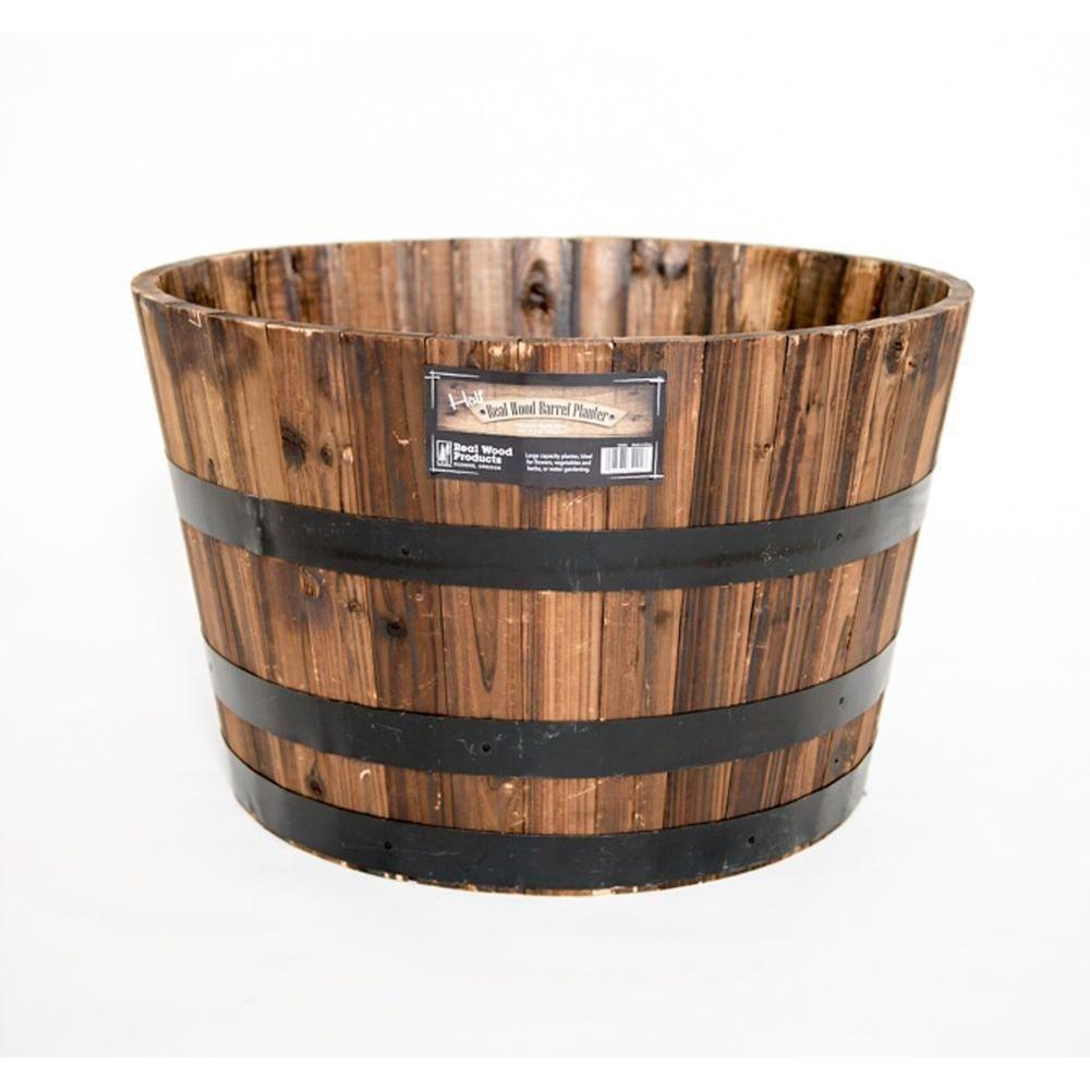 Real Wood 26 In Dia Cedar Half Whiskey Barrel Planter G3056 The Home Depot Whiskey Barrel Planter Half Whiskey Barrels Barrel Planter