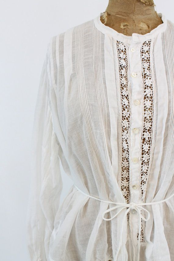 Gorgeous 1910 Edwardian blouse in a rare larger size! Done in a sheer white  lawn cotton. Vertical panels of crochet lace and pintucking. Attached e202cd8cd5