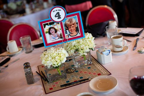 Table Numbers With A Picture Of The Bride And Groom At Each Corresponding Age We Couldn T Have More Than Twelve Tables Though Because I Was Mess