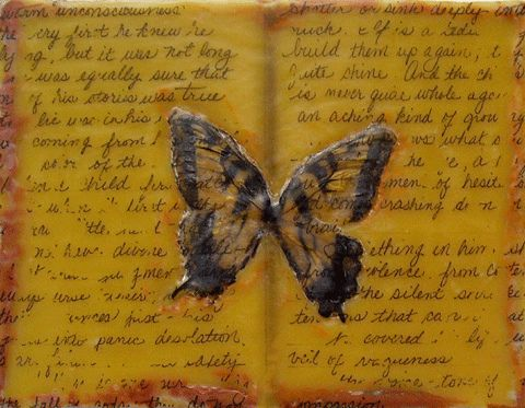 """Mourning in Lake Lure"" , encaustic on Board, 8"" x 4"", Paper, real butterfly wings, journal pages photo transfer, PRIVATE COLLECTION, SOLD"
