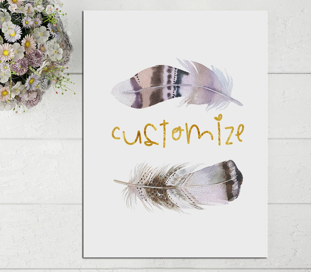 Custom Quote Prints Custom Printblue Boho Feathercustom Words Printbohemian Print
