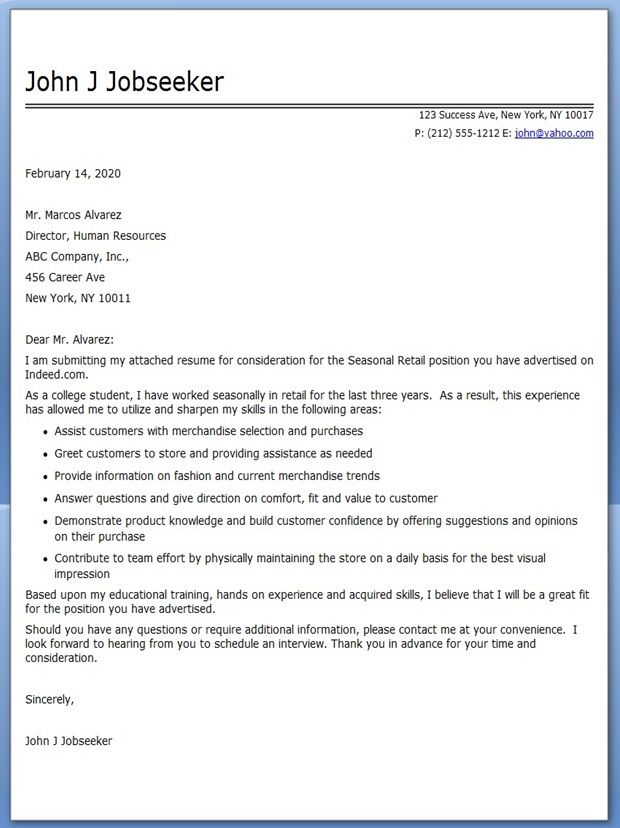 Retail Cover Letter Example Templates Manager \u2013 creerpro
