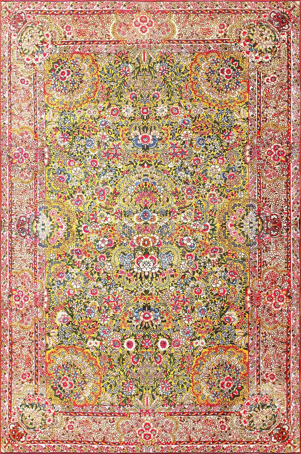 Saffron Yellow Antique Persian Kerman Rug 48659 Antique