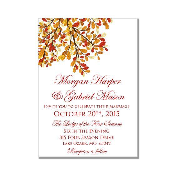 fall wedding invitation fall diy wedding by clearylaneweddings