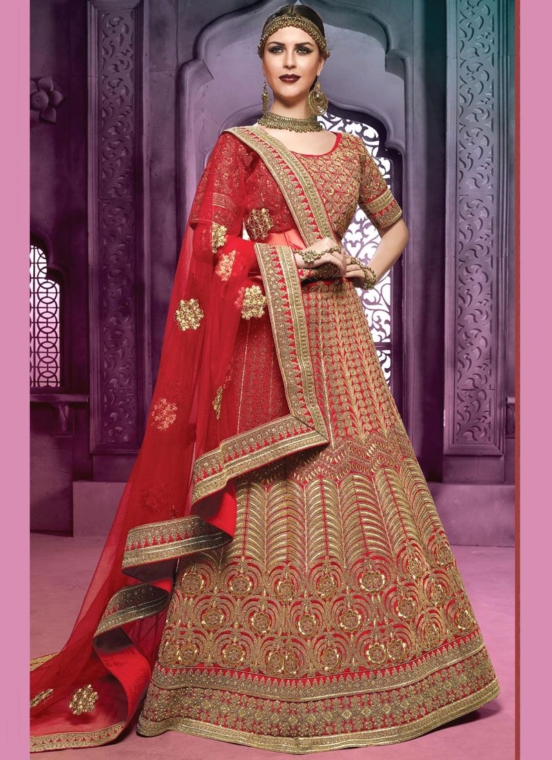 Wedding saree blouse design red aesthetic art silk red lehenga choli  a line lehenga choli