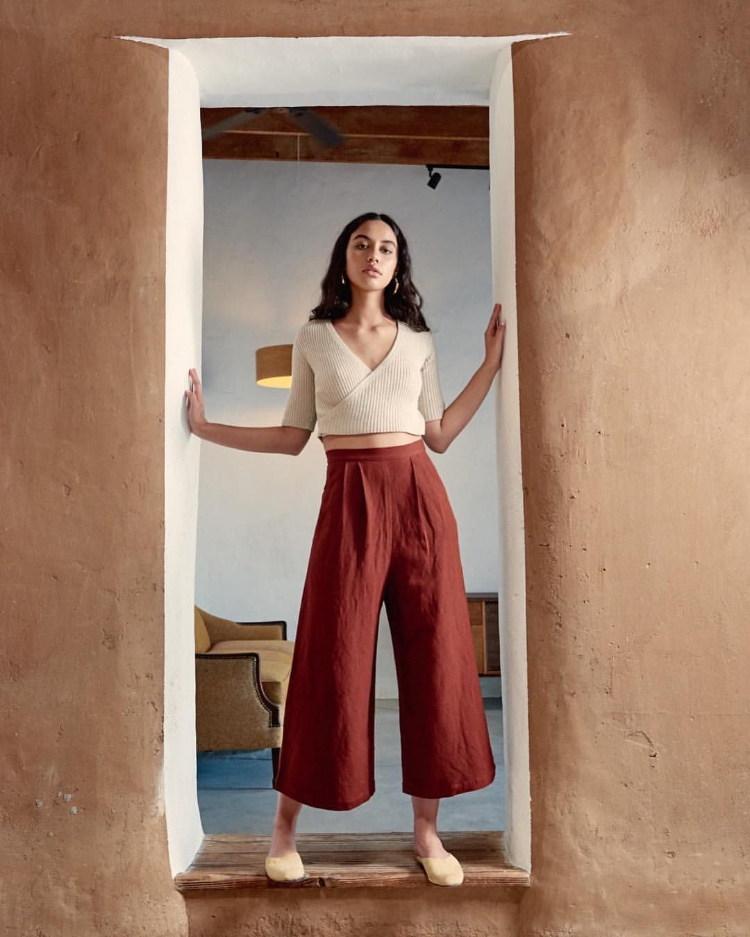 Pima cotton sweaters and linen crop culottes
