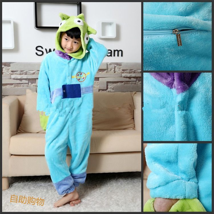 anime cosplay kids children cosplay pajamas onesie three eyes squeeze toy story aliens christmas halloween party - Toy Story Alien Halloween Costume