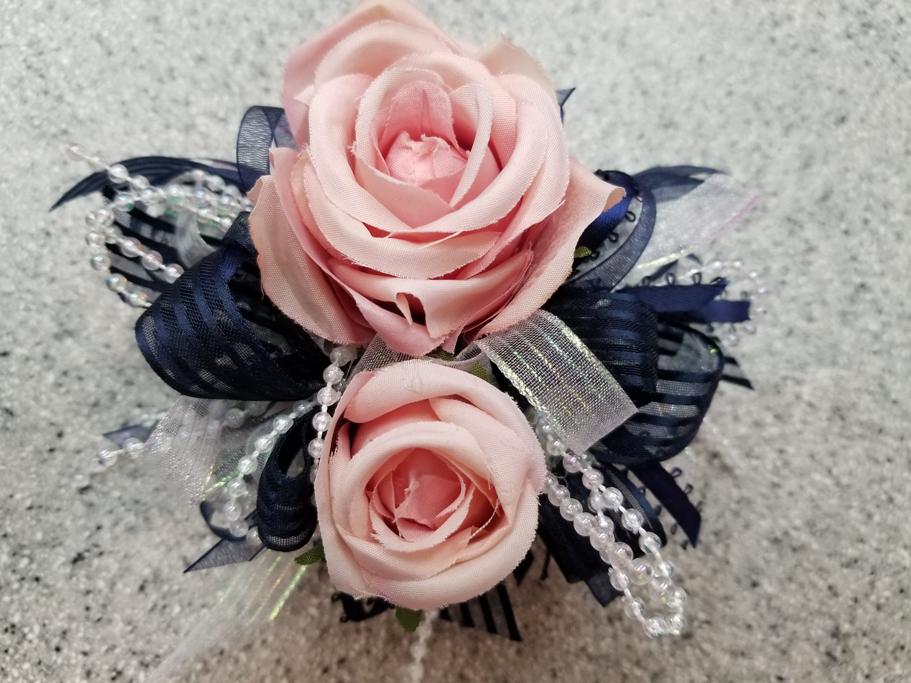 Navy Pink And White Silk Flower Wrist Corsage Set With Boutonniere