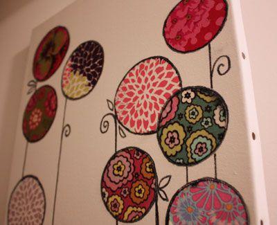 Tableau fleurs en tissu d co fabriquer loisirs - Fabriquer des tableaux ...