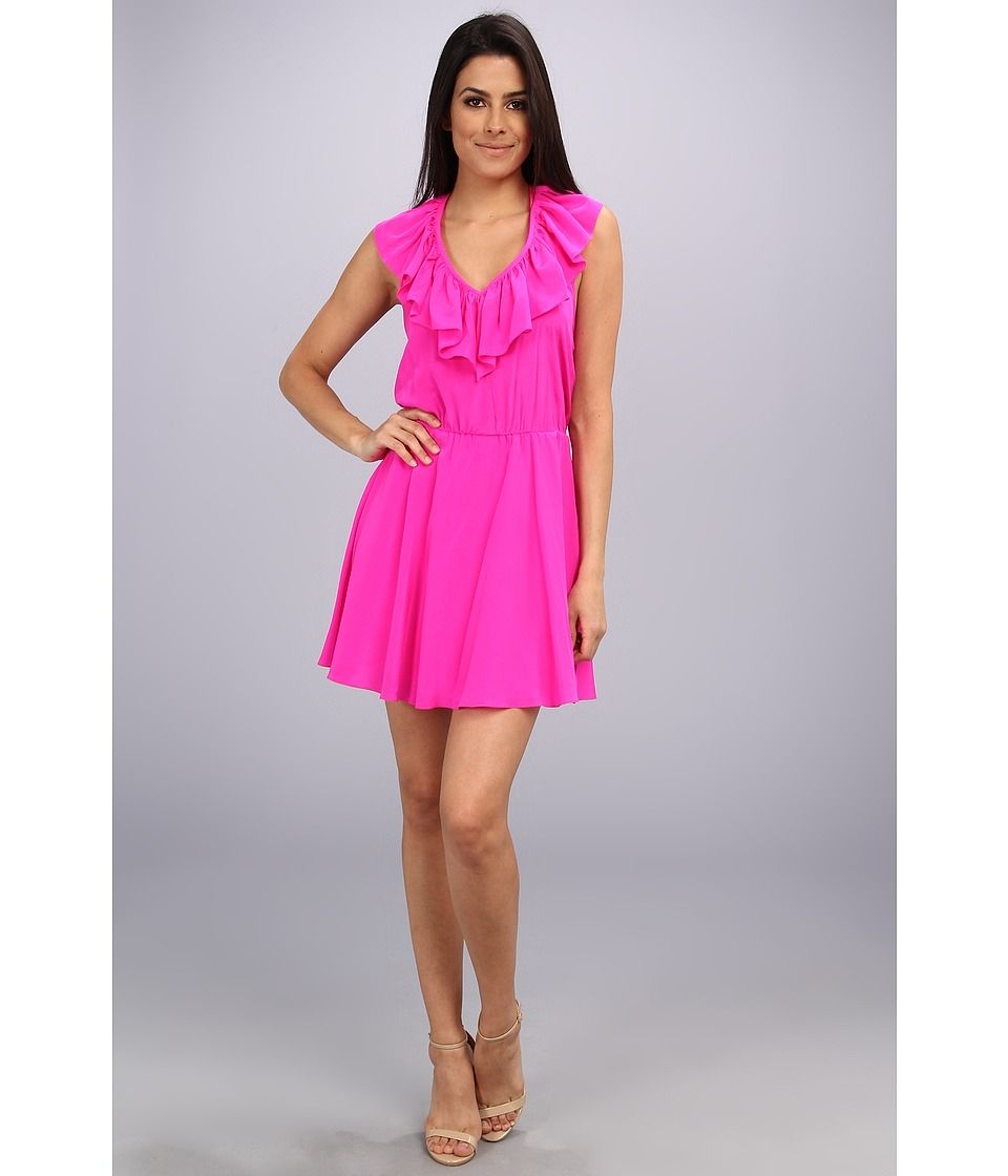 Amanda Uprichard Ruffle Halter Dress (Hot Pink) Women s Dress  cute  bridesmaid dress  556c920b0a
