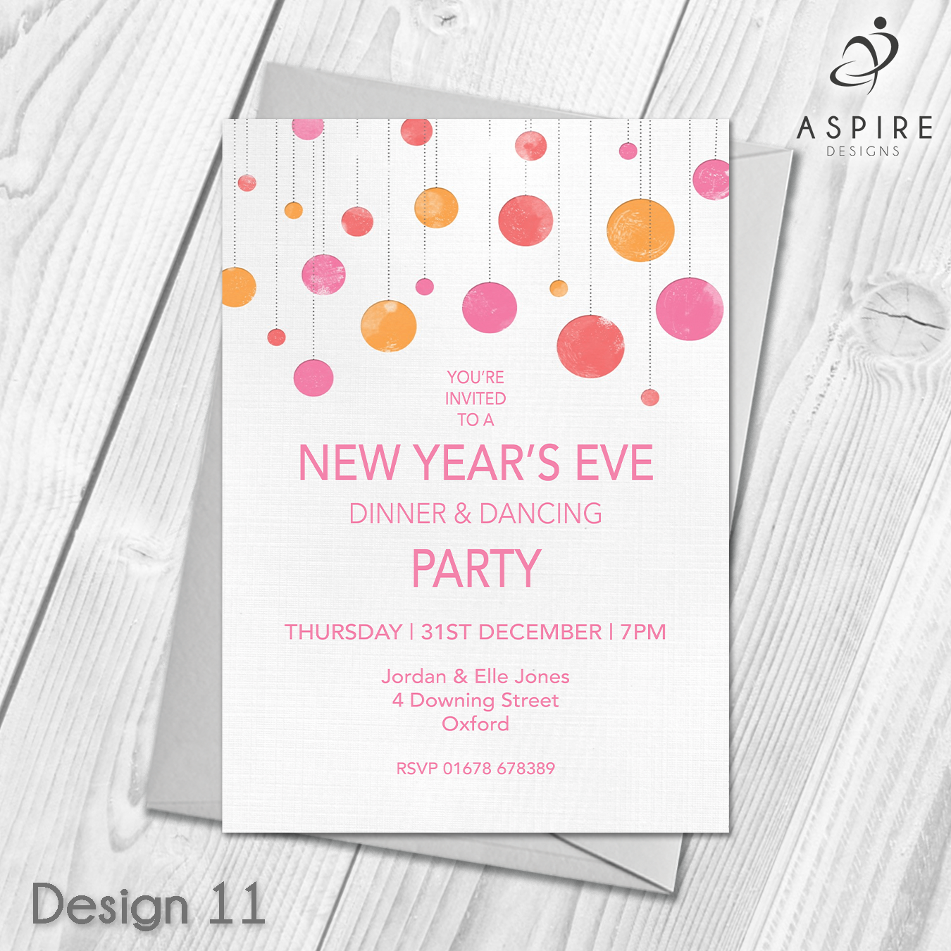 Personalised New Years Eve Party Celebration Invitations & Envelopes ...