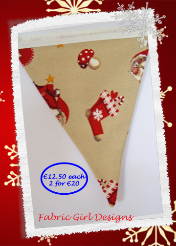 www.facebook.com/fabricgirldesigns  Santa bunting. 1.5 meters length, 100% cotton, fully lined, matching Christmas stockings available.