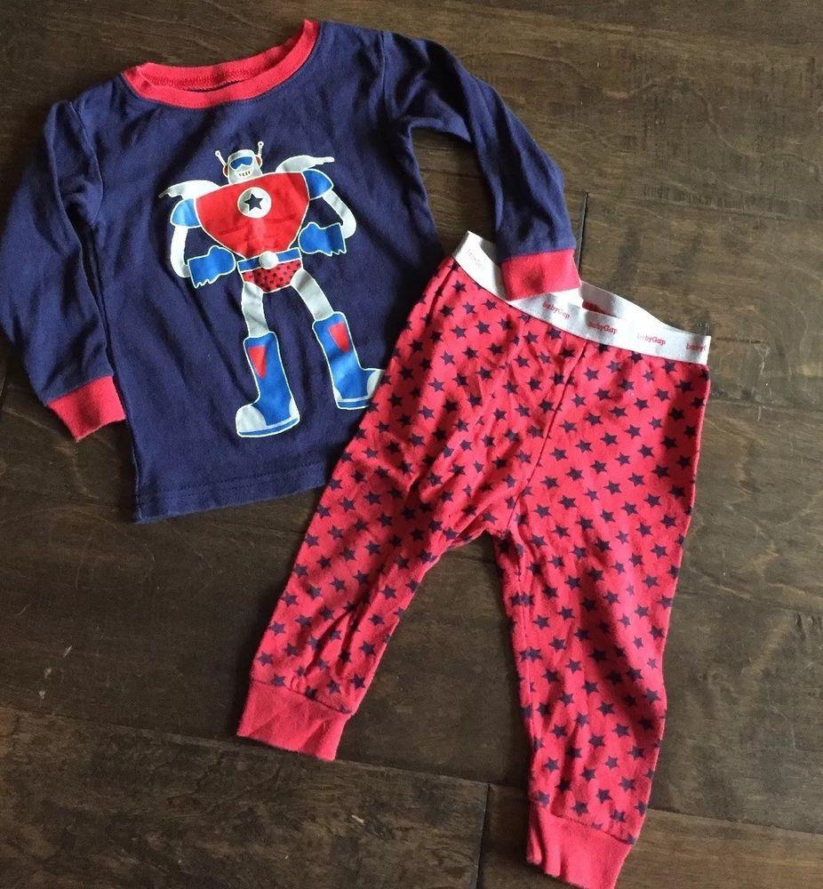 c972ebc00 EUC Boys Baby Gap Robot Long Sleeve Shirt Star Pants Pajamas 6-12m ...