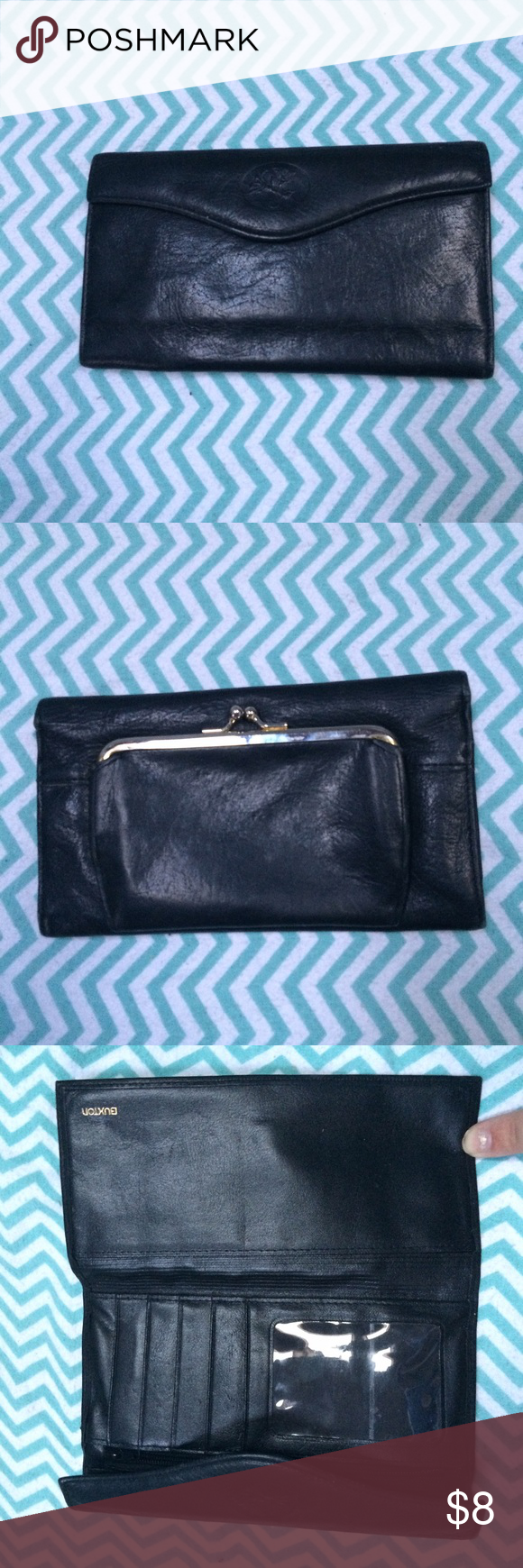 Buxton leather wallet Black genuine leather Buxton wallet in gently used condition. Lots of pockets and middle coin holder with metal closure. buxton Bags Wallets