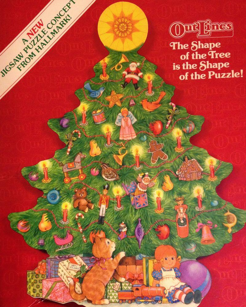 RARE CHRISTMAS PUZZLE ~ Vintage TREE SHAPE Hallmark Springbok Outlines  Jigsaw