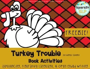 Turkey Trouble by Wendi Silvano is a delightful story of turkey's attempt to disguise himself in order to avoid being Thanksgiving dinner.This FREEBIE product includes a page for drawing or writing down the events in sequence.  Also included is a page of figurative language  from the book for discussing.