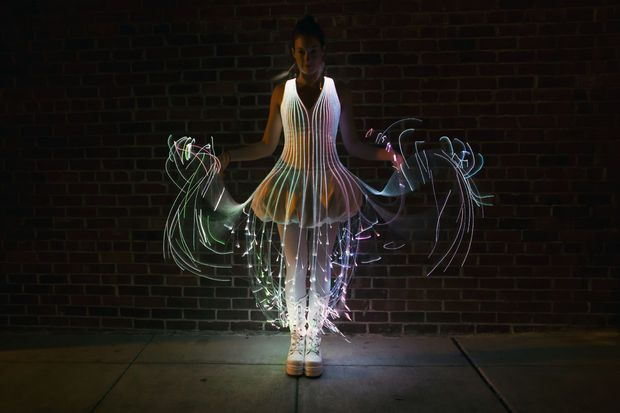 The inspiration for this dress followed the first time I saw this fiberoptic product in action. I was at a festival when I saw a bloom of fiber optic jellyfish approach, and they created such a beautiful effect that I knew I had to turn the concept into something wearable. I'd been wanting to incorporate fiber optics into fashion for a while, but this made it clear what I wanted to use and how.