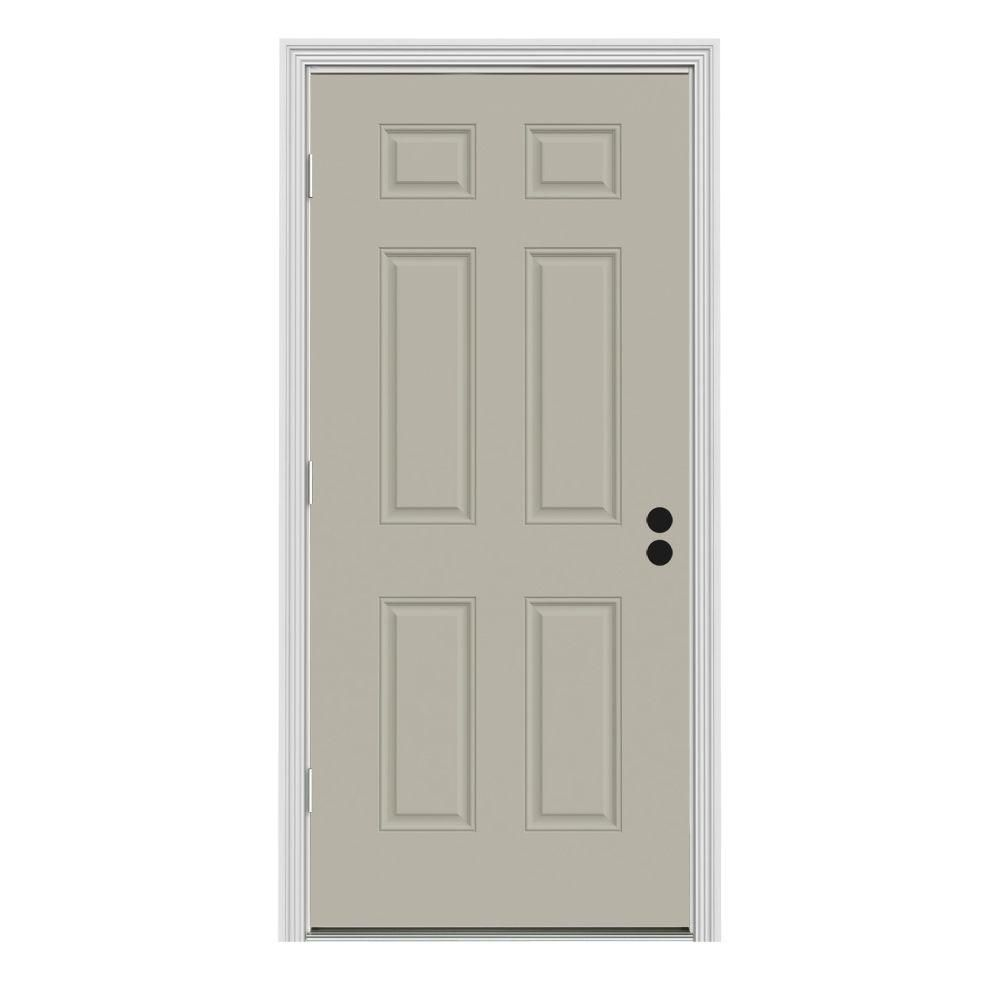 Jeld Wen 34 In X 80 In 6 Panel Desert Sand Painted Steel Prehung Right Hand Outswing Front Door W Brickmould Thdjw166100147 White Paneling Tall Cabinet Storage Doors
