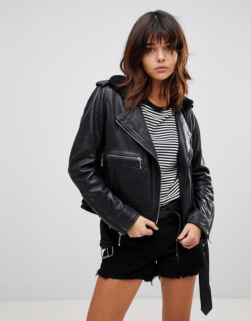 Muubaa Guilia Shearling Leather Biker Jacket Black Modesens Biker Jacket Distressed Leather Jacket Fur Collar Leather Jacket [ 1110 x 870 Pixel ]