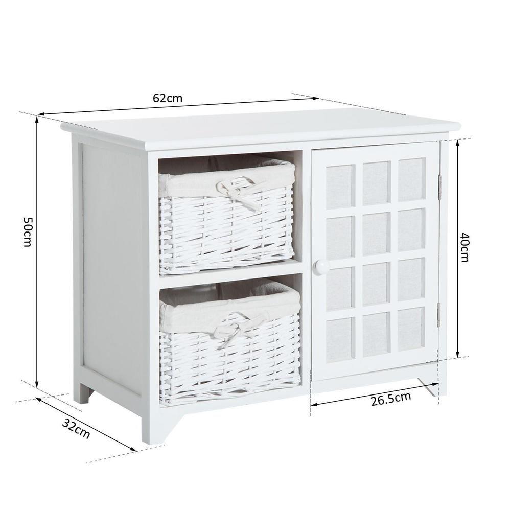 Hallway storage cabinet  White Wicker Baskets Wood Cabinet Hallway Storage Unit Organiser