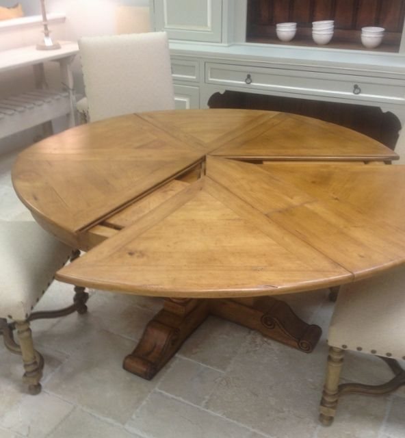 Round Extendable Solid Wood Distressed Dining Table Extends To