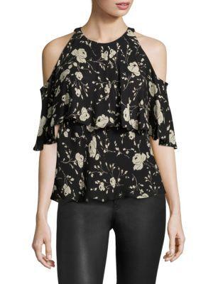 1d7291c15 POLO RALPH LAUREN Cold-Shoulder Silk Floral-Print Blouse. #poloralphlauren  #cloth #blouse