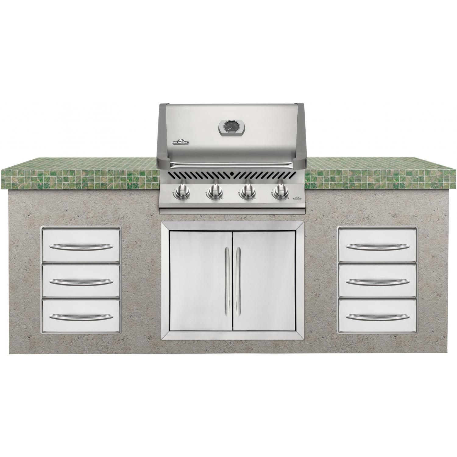 Napoleon Prestige 500 Built In Natural Gas Grill With Infrared Rear Burner Built In Grill Outdoor Kitchen Island Kitchen Island Design