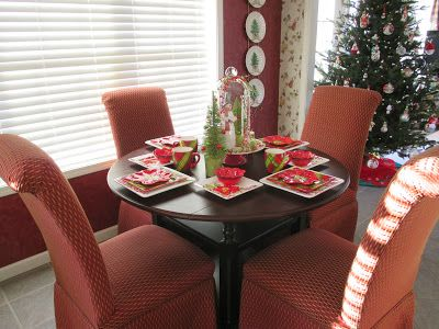 Cupcakes 'n Daisies: December 2013 Love the covered chairs with the cute table &&&& the table setting!