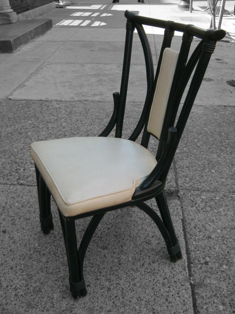 Dark Black With Cream Cuhsion Rattan Dining Chair