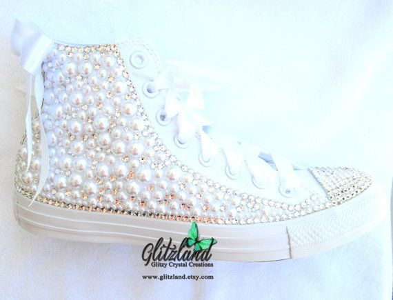 91f5dc8a80712 Bridal Converse, Crystals Bling, All White, Satin Laces, Customized ...