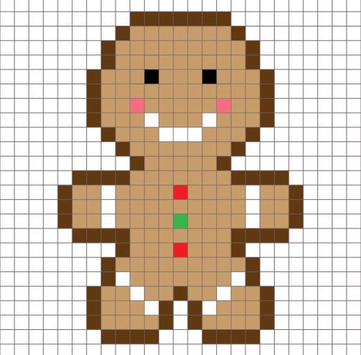 Crochet Gingerbread Man Pixel Square Pixel Crochet
