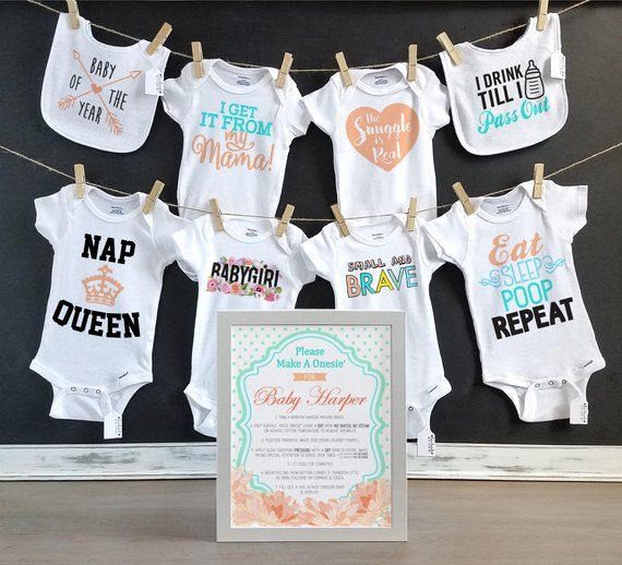 2cc6598a6 Peach and Mint Baby Shower Kit/ Personalized Sign/ Onesie Decorating/ 8  Decals, 6 Onesies + 2 Bibs &