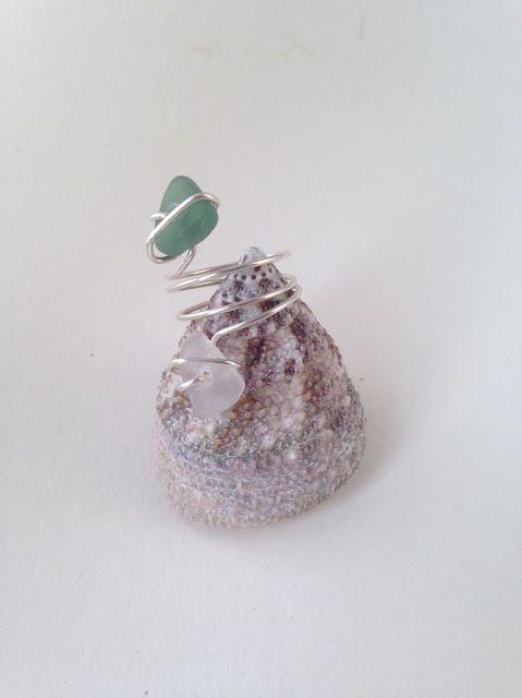 Knöchel-Finger-Ring aus Silberdraht mit Seeglas Steinchen von MeerSchmuck