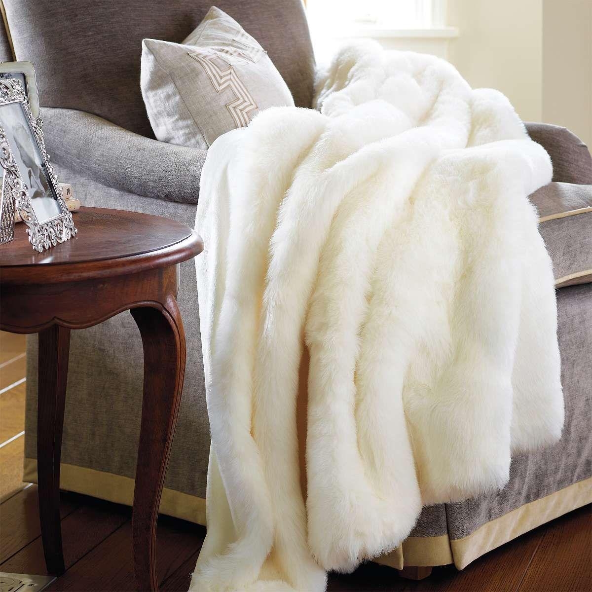 Frontgate Luxury Faux Fur Throw Dekorativnye Podushki Interer