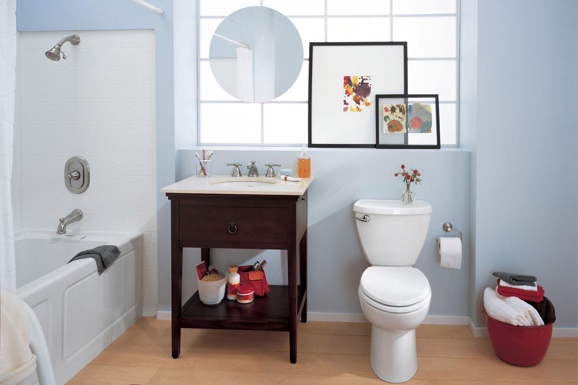 Stylish bathroom with American Standard\'s modern two-piece toilet ...