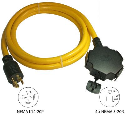 Conntek 20500 010 10ft 20a 4 Prong Generator Outlet Splitter 4x 15a Outlets More Info Http Conntek Com Products Asp Id 4 Generation Generator Cords Cord