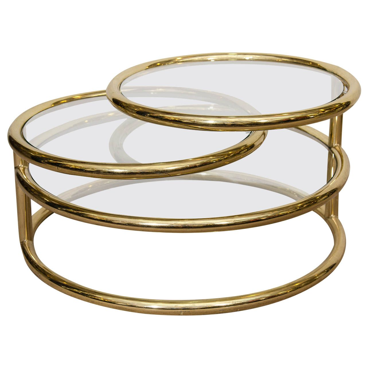 A Mid Century Milo Baughman Style Three Tiered Brass U0026 Glass Swivel Coffee  Table | From