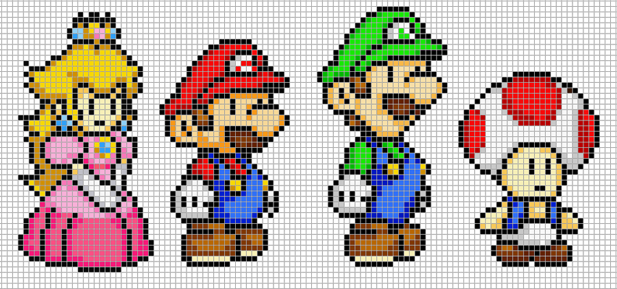 Mario, Luigi, Peach and Toad by *Hama-Girl on deviantART - pixel
