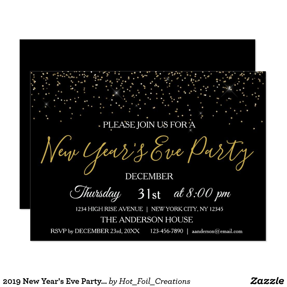 2020 New Year's Eve Party Glitter Sparkle Invite Zazzle