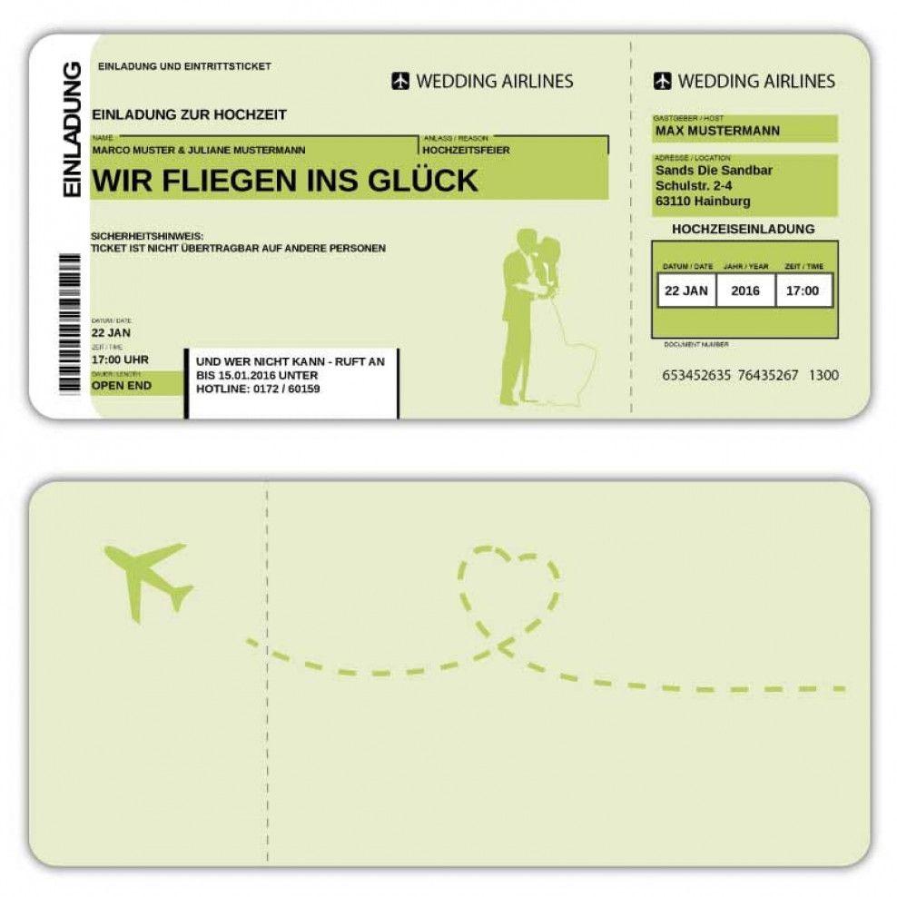 Ticket Fest Einladungskarte Feier Einladung zur Hochzeit als Flugticket