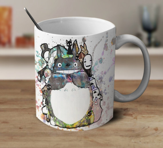 Studio Ghibli Art, Studio Ghibli Mug, Totoro, No Face, Turnip Head, Anime, Magic Coffee Mug, Color Changing Mug,Studio Ghibli Art, Totoro #mugart