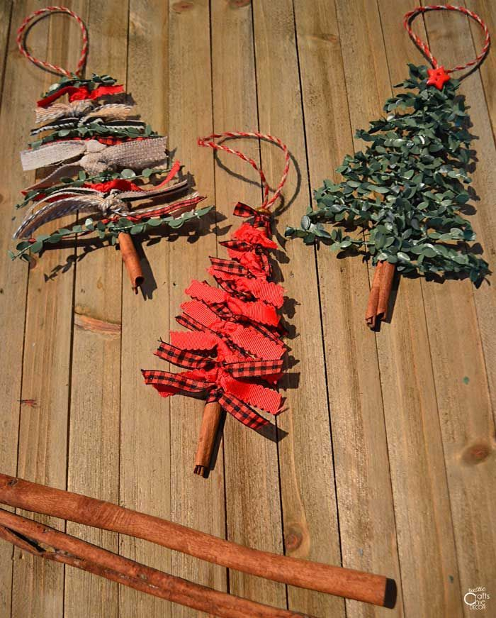 Ribbon Christmas Tree Ornament DIY - Rustic Crafts & Chic Decor