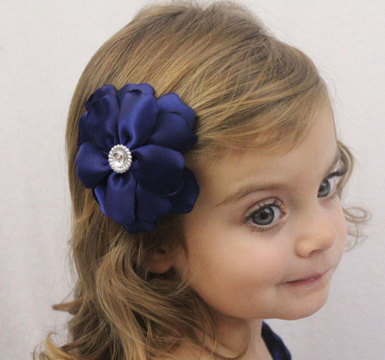 flower girl bow - navy wedding flower hair bow - fancy layered