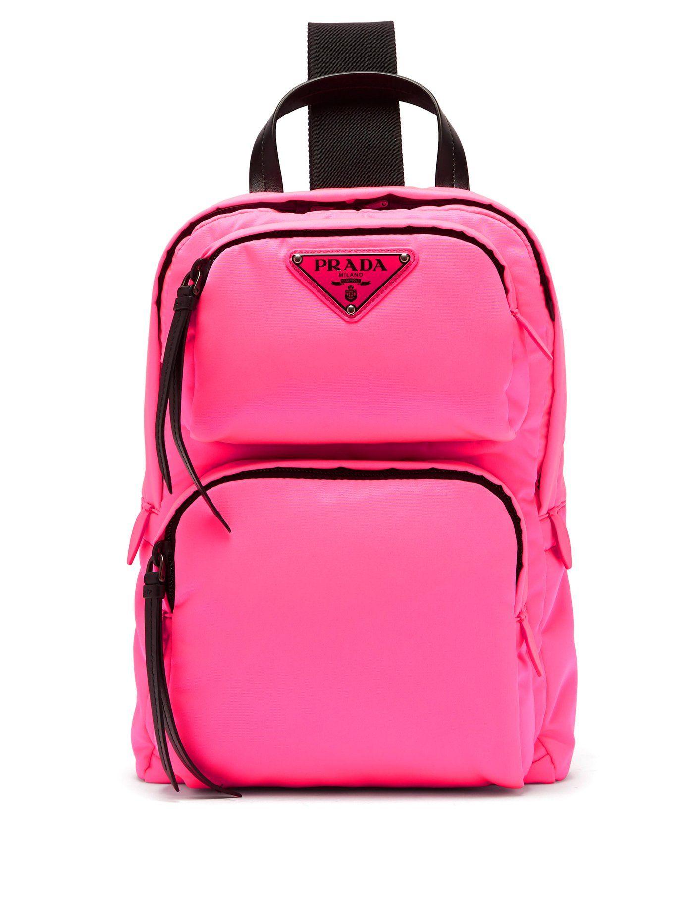 614837f974e7 PRADALeather-trimmed nylon backpack | bags | One shoulder backpack ...
