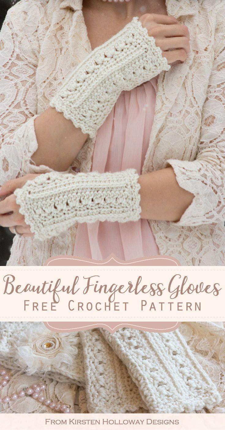 Simple Lace Wrist Warmers Free Crochet Pattern