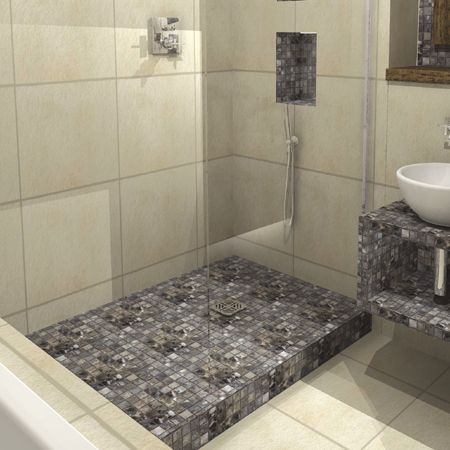 image result for raised shower platform tile on top