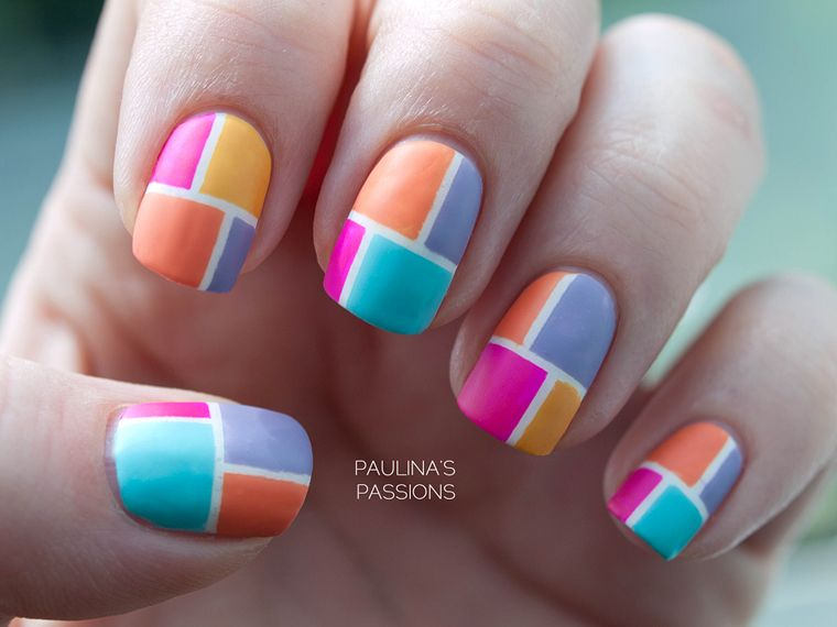 I used four colors for each nail and on my index and ring finger, I ...