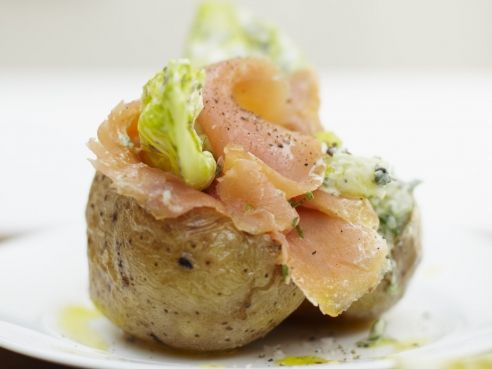 Wondrous Baked Potatoes With Chives Leftover Salmon Cottage Cheese Interior Design Ideas Gentotryabchikinfo