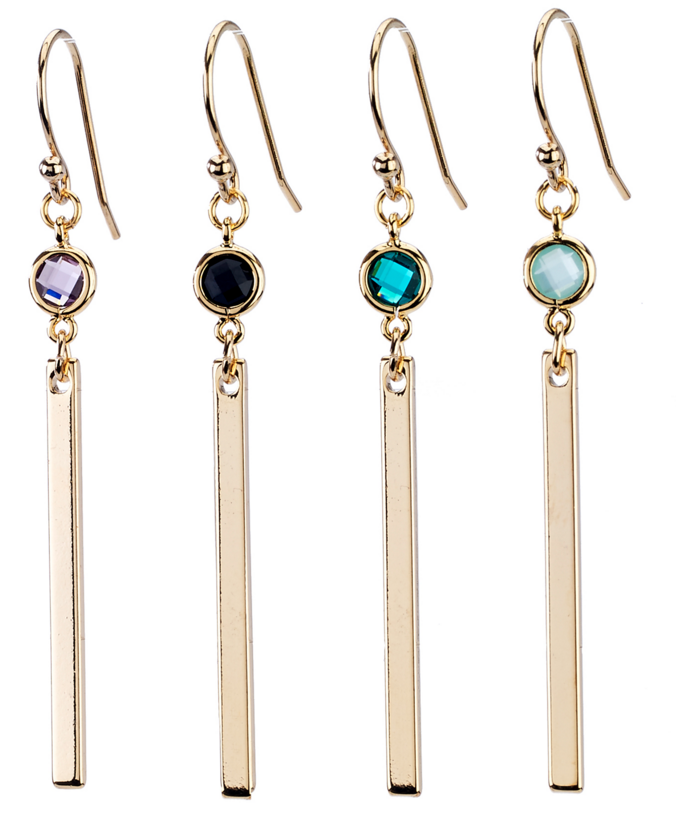 """Minimal faceted gems with bar drop earrings for a casual but modern look.Colors:Amethyst, Black, Green, or Mint. 2.25"""" long glass, base metal nickel free"""